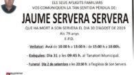 """Avui ens ha deixat el nostre col·laborador, JaumeServera Serveraa l'edat de 79 anys. Jaume va ser col·laborar de TVServerinadurant 25 anys. Va començar l'any 1994, amb el programa """"Pobles"""" un […]"""