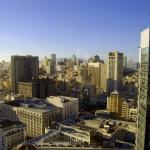 La imatge dels rascacels que formen el downtown vista de l'hotel Marriott. Un pot pensar que seria una part ben gran de la ciutat...però al contrari de LA o New York, San Francisco només té un petit nucli de rascacels que formarien bàsicament el districte financer.