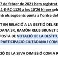 Els regidors de l'oposició (PP, ON-El Pi i UP), avui migdia han demanat la celebració d'un ple extraordinari, per tractar la destitució del regidor Ramon Reus. La batlessa ha manifestat […]